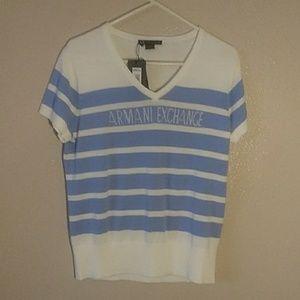 Armani Exchange blue white sweater knit short. Xl